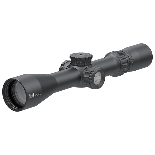 March Compact Tactical 2.5-25x42 MTR-1 Reticle 1/4MOA Illuminated Riflescope D25V42TI