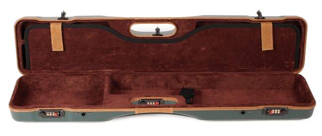Negrini Uplander O/U or SXS Upland Shotgun Case w/ QD Padded Shoulder Strap Green/Tan Leather Trim and Brown Handle 16405LX/5493