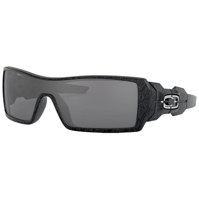 Oakley Oil Rig Polished Black/Silver Ghost Text w/Black Iridium Lenses 24-058