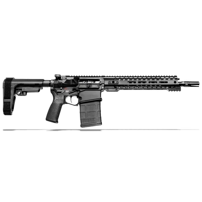 "POF Revolution DI .308 Win 12.5"" Bbl Black Pistol w/11.5"" Rail, Dictator Gas Block, and SB-A3 Brace 01599"