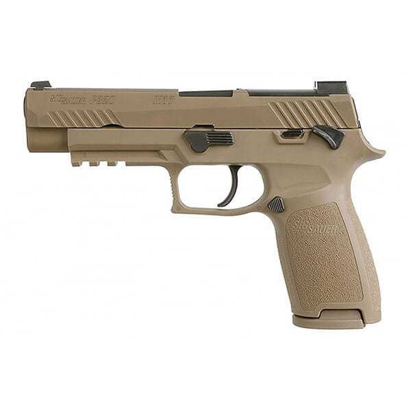 Sig Sauer M17 P320 9mm Coyote MS Pistol w/Night Sights, R2 Plate, (1) 17rd and (1) 21rd Mags 320F-9-M17-MS-2M