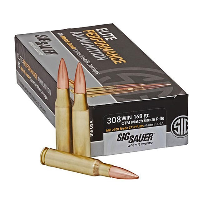 Sig Sauer Ammo .308 Win 168gr Elite OTM  Match Grade Rifle 20/Box E308M1-20