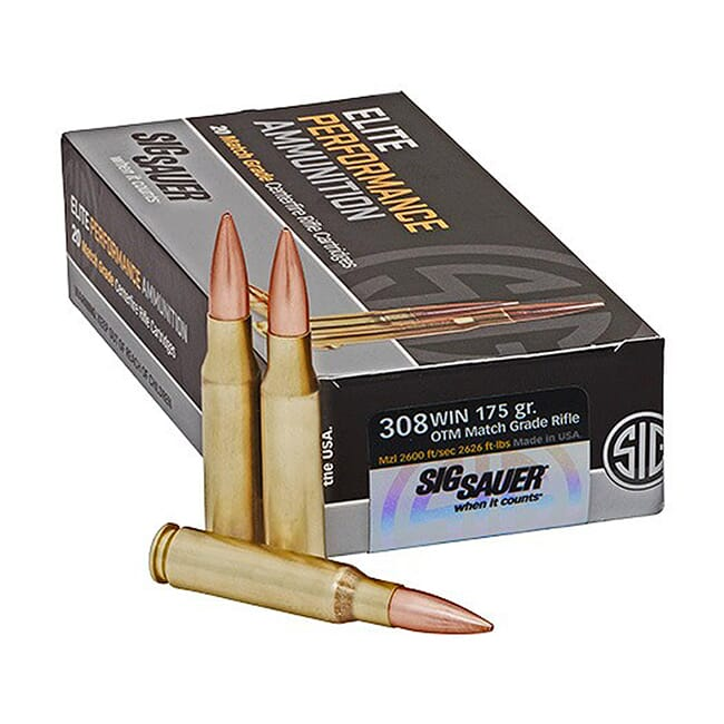 Sig Sauer Ammo .308 Win 175gr Elite OTM  Match Grade Rifle 20/Box E308M2-20