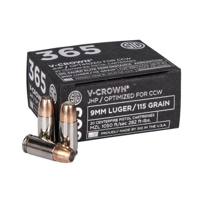 Sig Sauer Ammo 9mm 115gr Elite V-Crown 365 JHP 20/Box E9MMA1-365-20