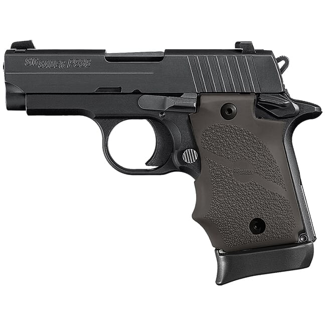 "Sig Sauer P938 Ghost 9mm 3"" Nitron and Black Rubber Grip Gray 7rd Mag Ambi Mico-Compact Handgun 938-9-B-GST-AMBI"