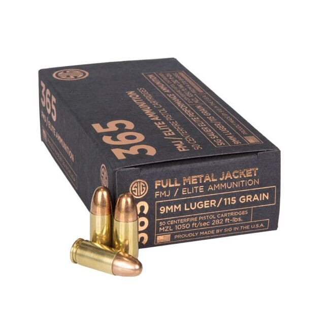 Sig Sauer Ammo 9mm 115gr Elite Ball 365 FMJ 50/Box E9MMB1-365-50
