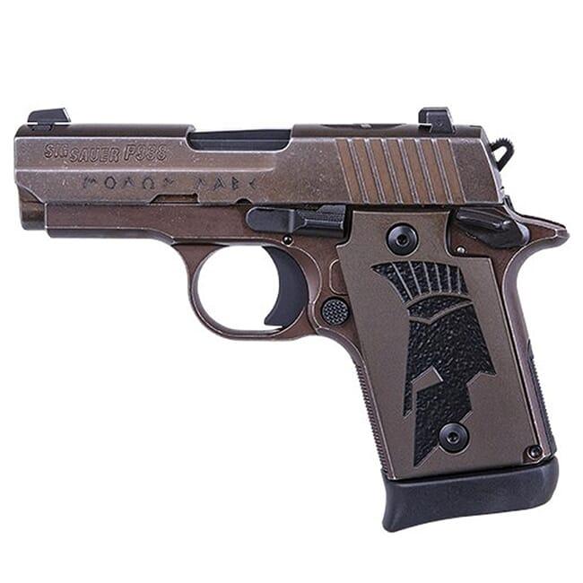 Sig Sauer P938, 9mm, 3in, Spartanii, Distressed Coyote, Sao, Siglite, Spartanii Grip, (1) 7rd Steel Mag, Ambi Safety Pistol 938-9-SPARTANII-AMBI