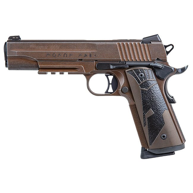 Sig Sauer 1911, 45 ACP, 5in, Spartanii, Distressed Coyote, Sao, Siglite, Spartanii Grip, (2) 8rd Steel Mag, Rail Pistol 1911R-45-SPARTANII