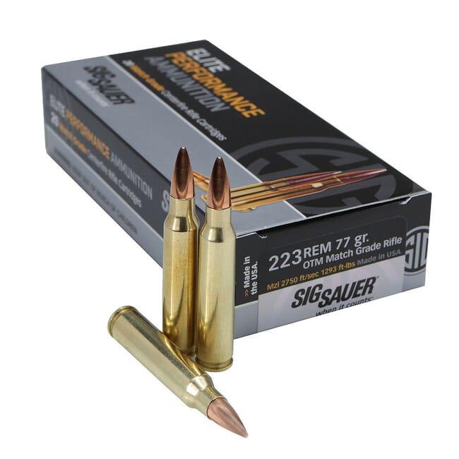 Sig Sauer Ammo .223 Rem Elite Match Grade 77gr OTM 20/Box E223M1-20