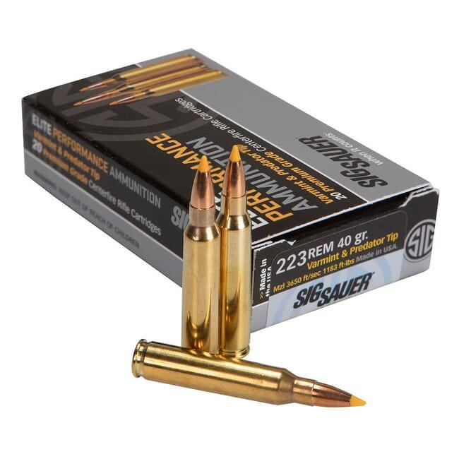 Sig Sauer Ammo .223 Rem Varmint and Predator 40gr 20/Box E223V1-20