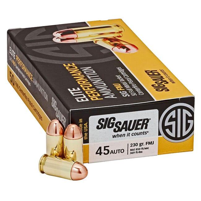 Sig Sauer Ammo 45 Auto 230gr Elite Ball FMJ 50/Box E45BA3-50