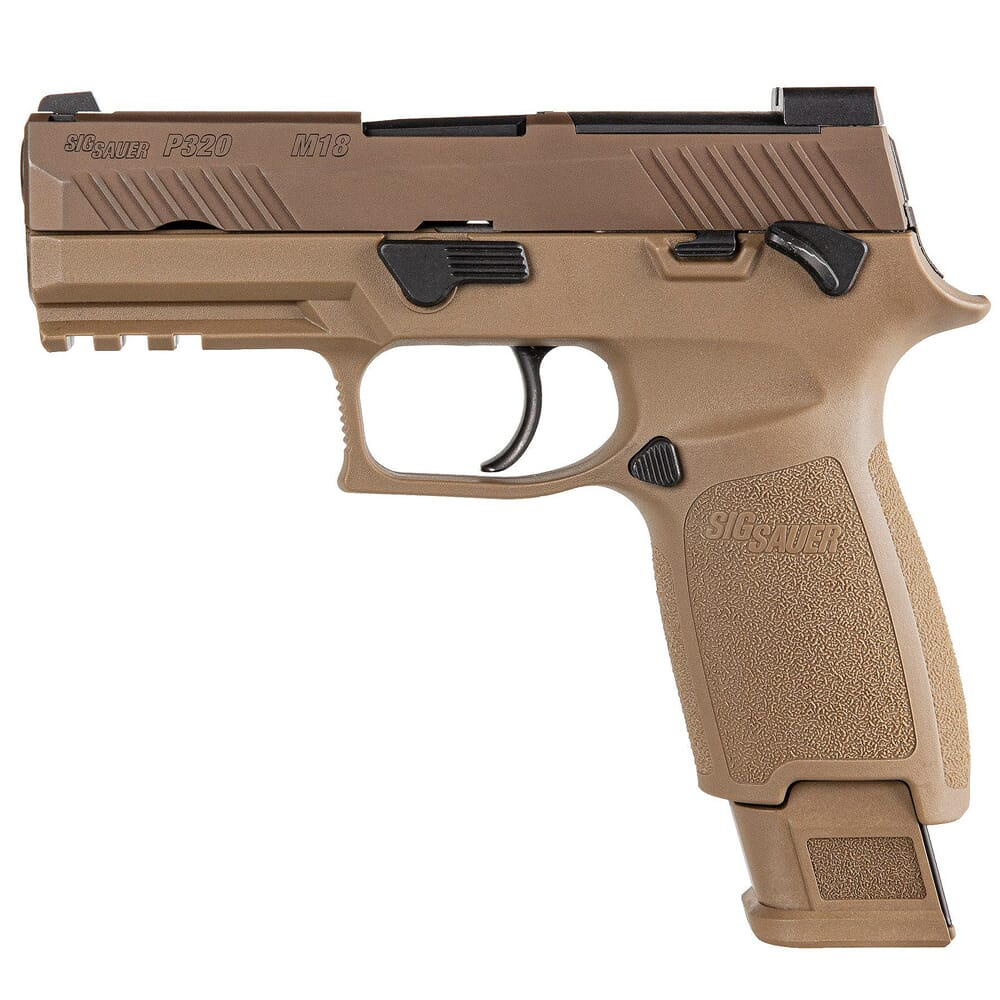 Sig Sauer P320 M18 Carry 9mm Optics Ready Coyote MS Pistol w/ (3) 10Rd Mags 320CA-9-M18-MS-10