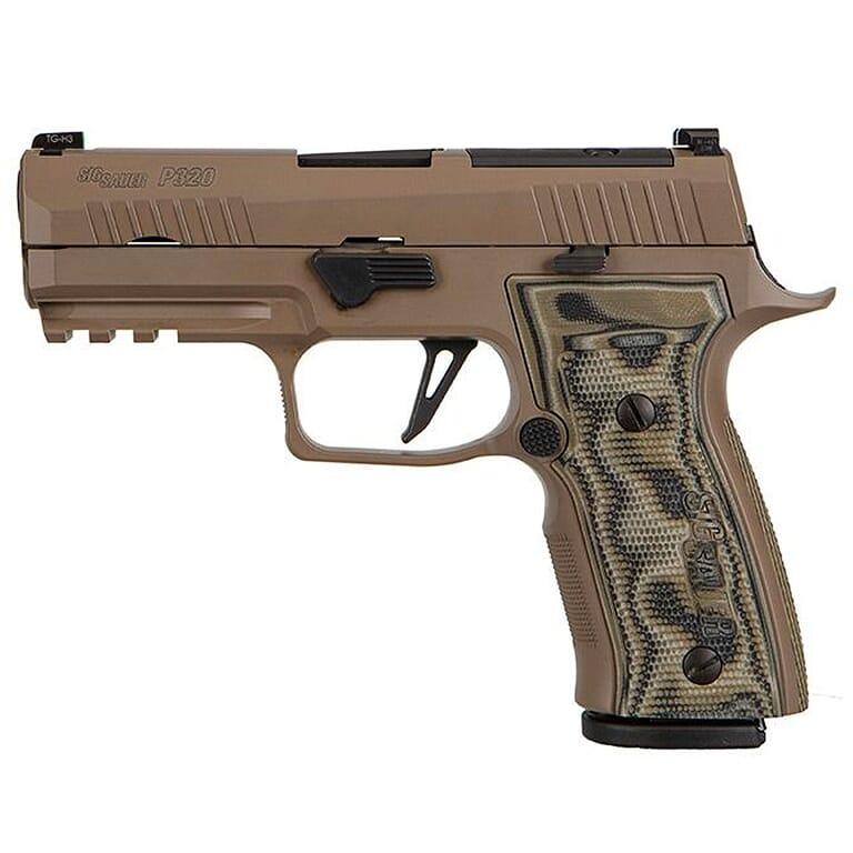 "Sig Sauer Custom Works P320 Scorpion 9mm 3.9"" FDE Optic Ready Pistol w/X-RAY3, AXG Mod Grip, and (3) 10rd Steel Mags 320AXGCA-9-CW-SCPN-R2-10"