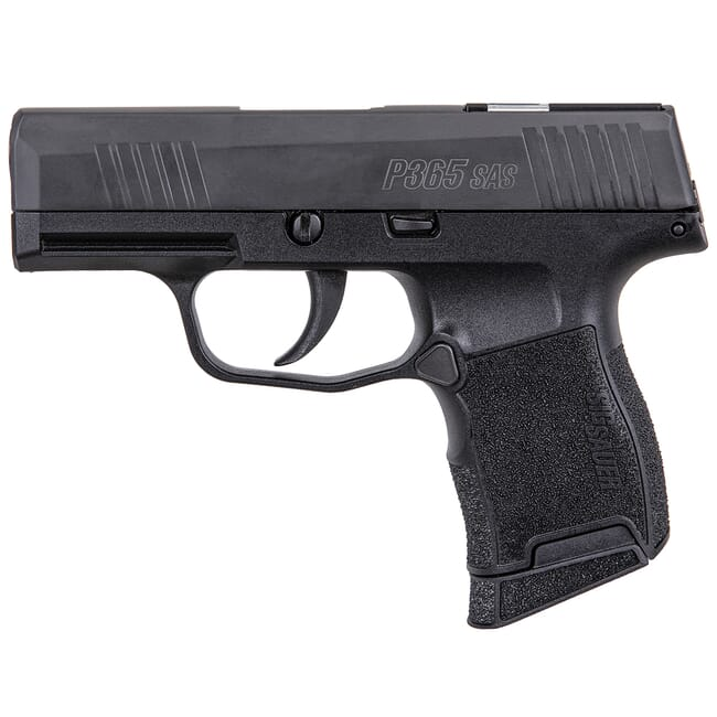 Sig Sauer P365 SAS 9mm High Capacity Micro-Compact Black Pistol w/ FT Bullseye Night Sights, (1) 10rd Flush & (1) 10rd Extended Mag 365-9-SAS