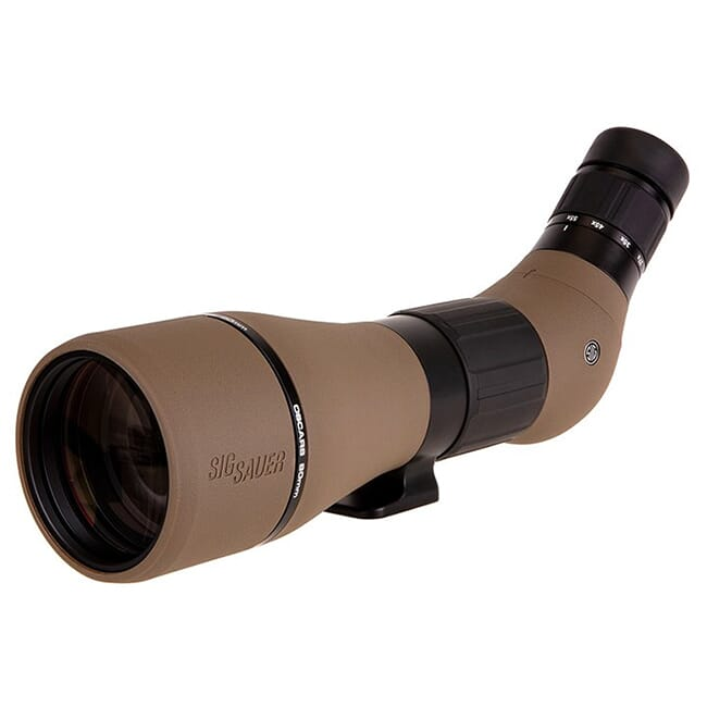 Sig Sauer OSCAR8 Spotting Scope, 27-55x80mm, HDX Lens, Angled Eyepiece, FDE SOO82001