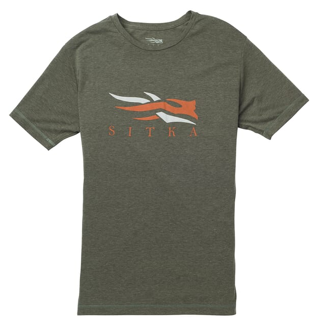 Sitka Logo Tee SS Deep Olive Heather 20092-DZ