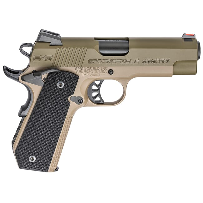"Springfield Armory 1911-A1 EMP 4"" 9mm Champion OD Green Slide / Desert FDE Frame Conceal Carry Contour Pistol (w/ 3 Mags & G10 Grips) PI9229GF"