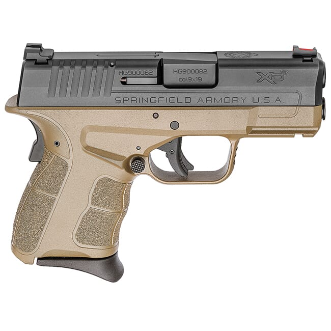 "Springfield Armory XDS 9mm MOD.2 3.3"" Desert FDE / Black Fiber Optic Sight Pistol (w/ 2 Magazines) XDSG9339FDE"