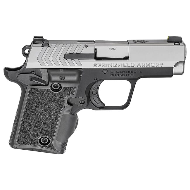 """Springfield Armory 911 9mm 3"""" Stainless, Green Viridian Grip Laser Pistol (w/ 2 Magazines) PG9119SVG"""