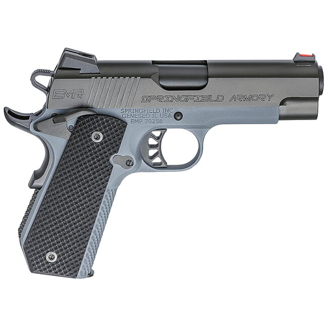 "Springfield Armory 1911-A1 EMP 4"" 9mm Champion Black Slide / Tactical Gray Frame Conceal Carry Contour Pistol (w/ 3 Mags & G10 Grips) PI9229Y"