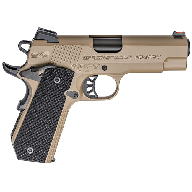 "Springfield Armory 1911-A1 EMP 4"" 9mm Champion Desert FDE Conceal Carry Contour Pistol (w/ 3 Mags & G10 Grips) PI9229F"