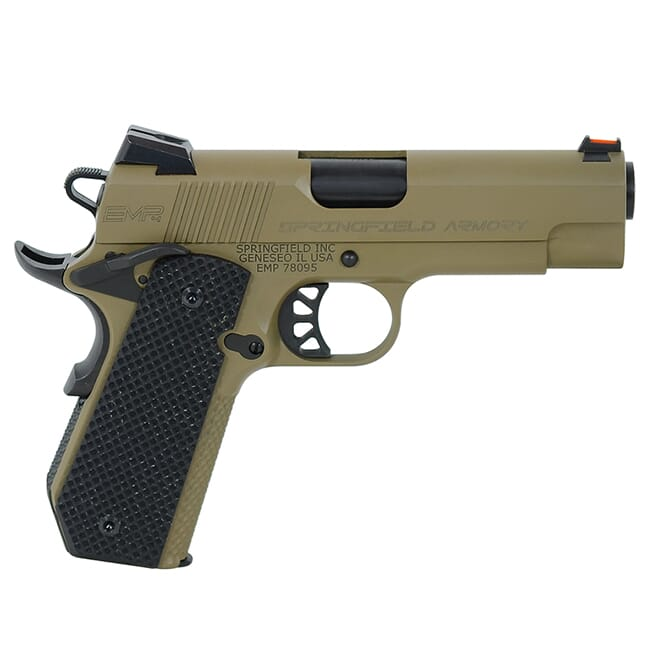 """Springfield Armory 1911-A1 EMP 4"""" 9mm Champion Desert FDE Conceal Carry Contour Pistol (w/ 3 Mags & G10 Grips) PI9229F"""