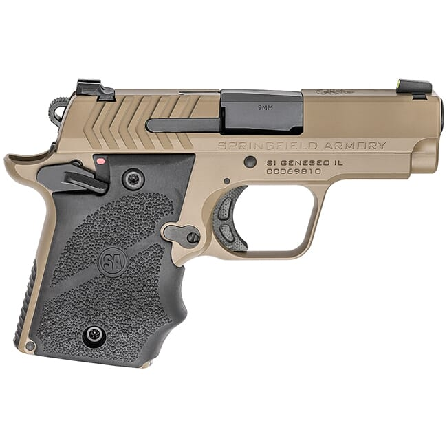 "Springfield Armory 911 9mm 3"" Desert FDE Pistol w/Hogue Rubber Grips & 2 Mags PG9119FH"