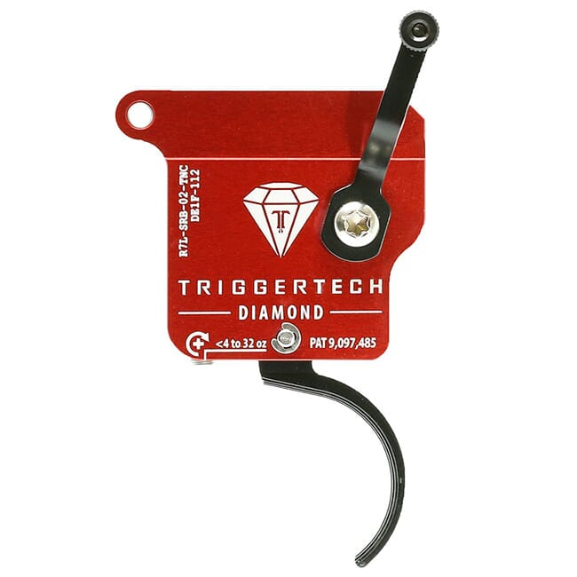 TriggerTech Rem 700 Clone LH Diamond Curved Clean Blk/Red Single Stage Trigger R7L-SRB-02-TNC