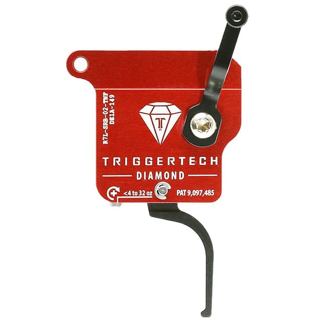 TriggerTech Rem 700 Clone LH Diamond Flat Clean Blk/Red Single Stage Trigger R7L-SRB-02-TNF