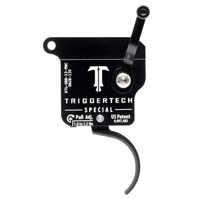 TriggerTech Rem 700 Clone LH Special Curved Clean Blk/Blk Single Stage Trigger R7L-SBB-13-TNC