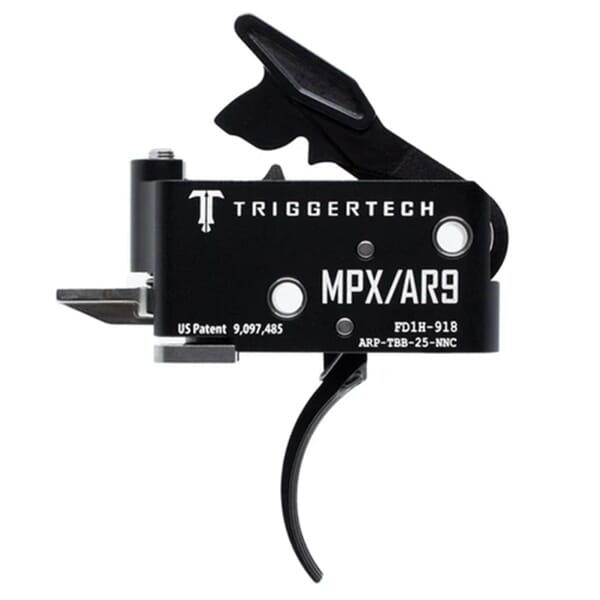 TriggerTech AR9/MPX Two Stage Blk/Blk Adaptable Curved 2.5-5.0 lbs Trigger ARP-TBB-25-NNC