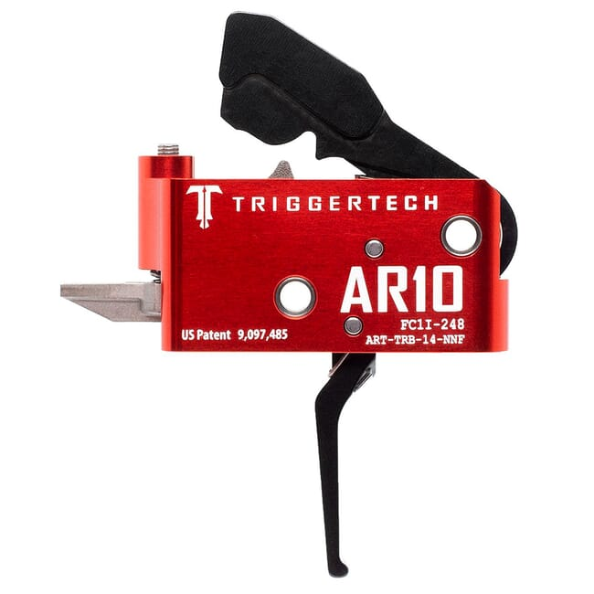 TriggerTech AR10 Two Stage Blk/Red AR Diamond Flat 1.5-4.0 lbs Trigger ART-TRB-14-NNF
