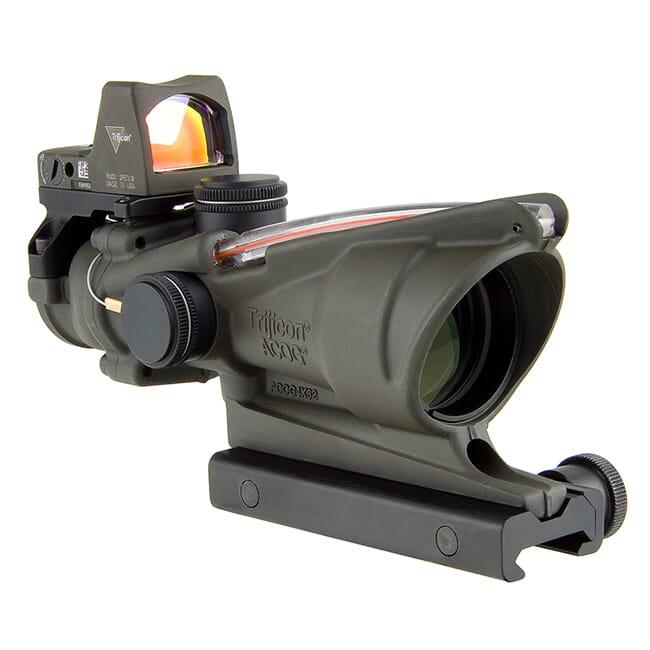 Trijicon 4x32 ACOG Dual Illum Red Chevron .223 Reticle w/Colt Knob Mount - LED 3.25 MOA Red Dot RMR Type 2 - OD Green TA31-D-100569