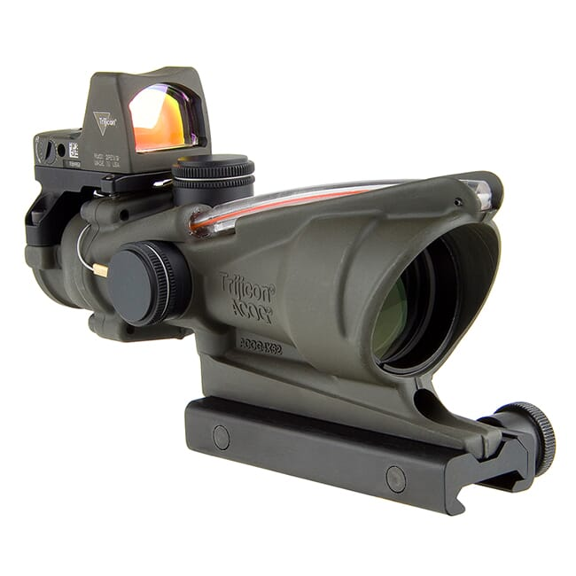 Trijicon 4x32 ACOG Dual Illum Red Chevron .223 Reticle w/Colt Knob Mount - LED 3.25 MOA Red Dot RMR Type 2 - OD Green TA31-D-100569