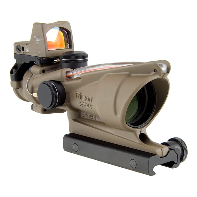 Trijicon 4x32 ACOG Dual Illum Red Chevron .223 Reticle w/Colt Knob Mount - LED 3.25 MOA Red Dot RMR Type 2 FDE - FDE TA31-D-100570
