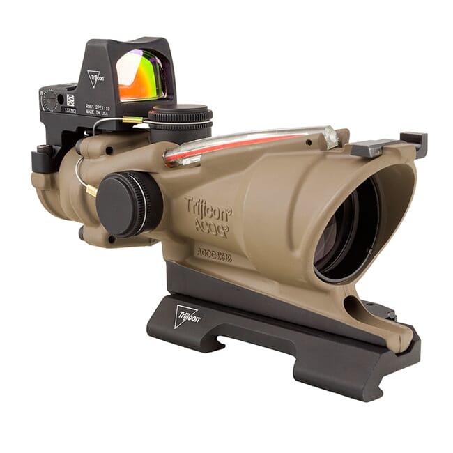 Trijicon 4x32 ACOG ECOS Dual Illum Red Crosshair 5.56 Reticle w/Iron Sights QR Mount - LED 3.25 MOA Red RMR Type 2 - FDE TA31-D-100553