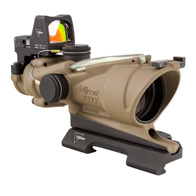 Trijicon 4x32 ACOG ECOS Dual Illum Green Crosshair 5.56 Reticle w/Iron Sights QR Mount - LED 3.25 MOA Red RMR Type 2 - FDE TA31-D-100554