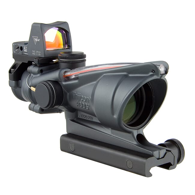 Trijicon 4x32 ACOG Dual Illum Red Chevron .223 Reticle w/Colt Knob Mount - LED 3.25 MOA Red Dot RMR Type 2 - Gray TA31-D-100568