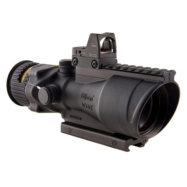 Trijicon 6x48 ACOG Dual Illum Amber Chevron .223 Reticle w/Colt Knob Mount - LED 6.5 MOA Red Dot RMR Type 2 TA648-D-100563