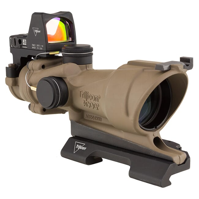 Trijicon 4x32 ACOG ECOS Illum Amber Crosshair 5.56 Reticle w/Iron Sights QR Mount - LED 3.25 MOA Red RMR Type 2 - FDE TA01-D-100555