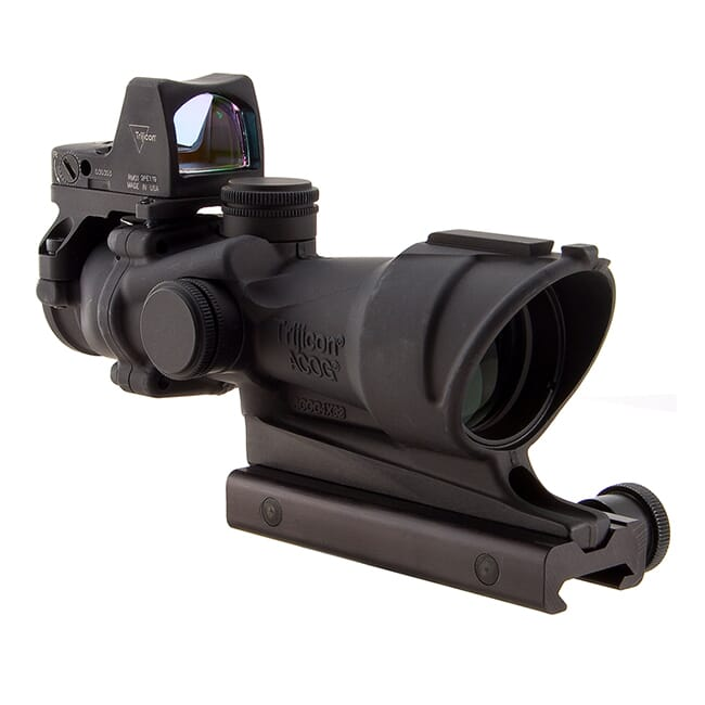 Trijicon 4x32 ACOG Illum Amber Crosshair .223 Reticle w/Colt Knob Mount - LED 3.25 MOA Red Dot RMR Type 2 TA01-D-100556