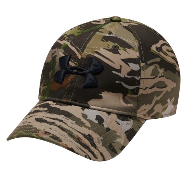 Under Armour Whitetail Men's Camo Stretch Fit Cap Updated UA Forest Camo/Charcoal/Black 1318532-940