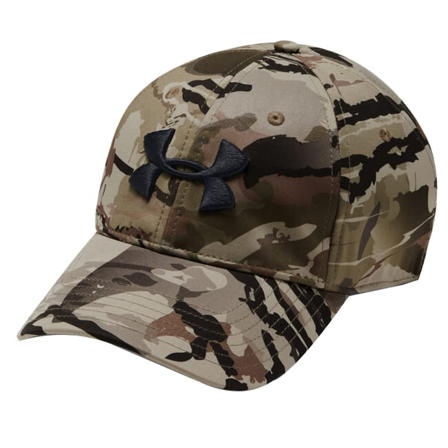 Under Armour Whitetail Men's Camo Stretch Fit Cap Updated UA Barren Camo/Charcoal/Black 1318532-999