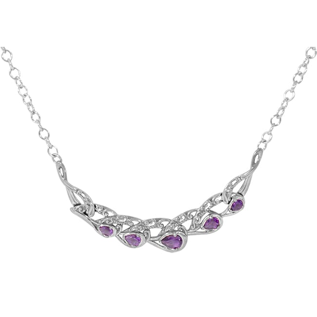 Carolyn Pollack Relios Radiant Sterling Silver & Amethyst Five Stone Filigree 17 in. Necklace 51115