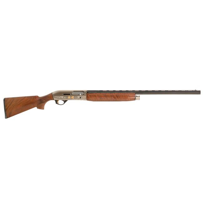 "Benelli Montefeltro 12GA 3"" 28"" Silver AA-Grade Satin Walnut, Nickel/blue Etched Game Scenes 4+1 Semi-Auto Shotgun 10850. Like new with small dent in"