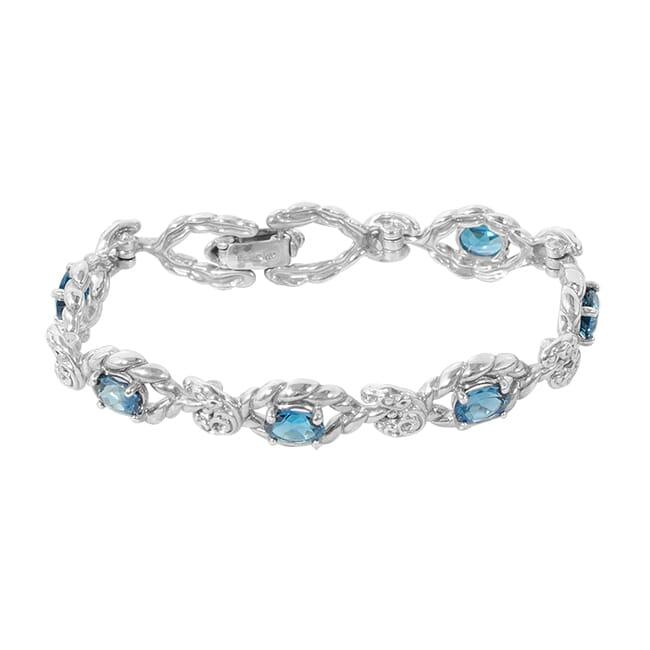 Carolyn Pollack Relios Radiant Faceted London Blue Topaz Link Bracelet 7.25