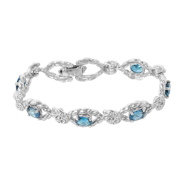 Carolyn Pollack Relios Radiant Faceted London Blue Topaz Link Bracelet 7.25
