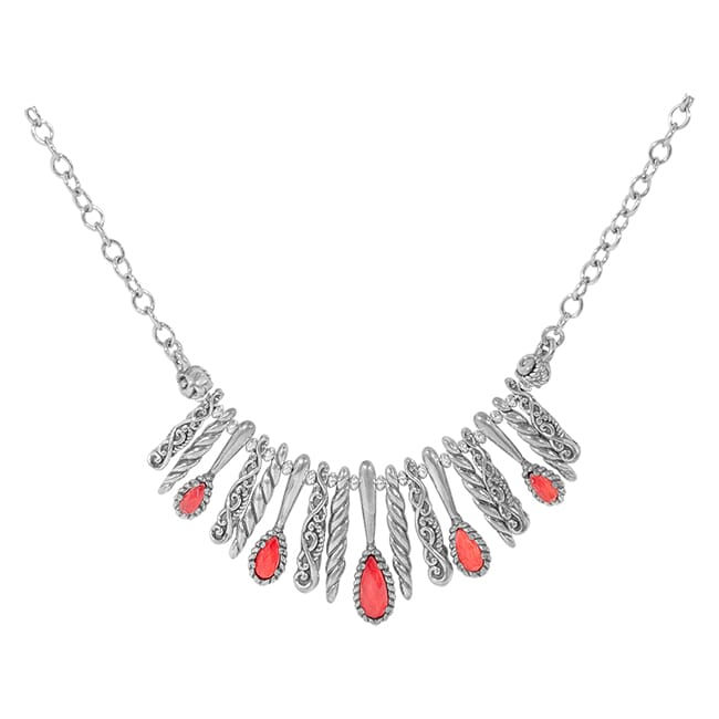 Carolyn Pollack Relios Sterling Silver & Red Coral Crystal Quartz Statement Necklace