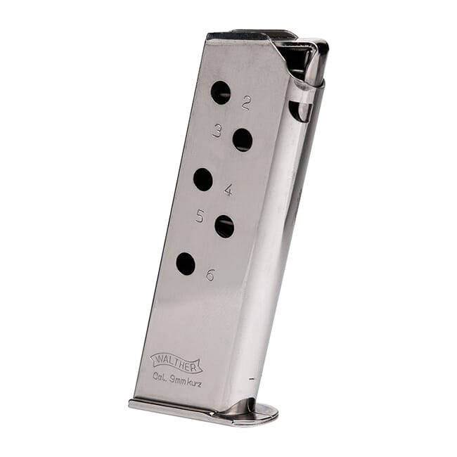 Walther PPK .380 ACP 6rd Nickel Magazine 2246009