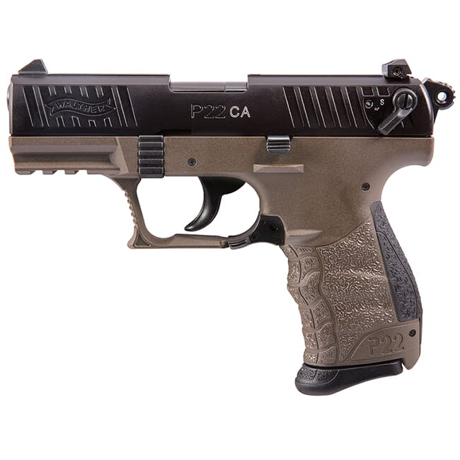 Walther Arms P22 .22 L.R. CA FDE Black Slide 10 round Pistol w/ 2 mags 5120363